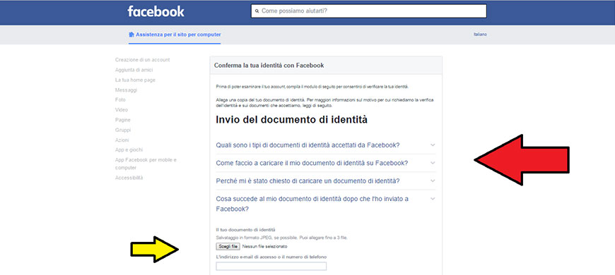 verificare account facebook